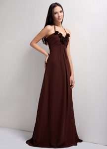 Brown Empire Brush Train Chiffon Bridemaid Dress