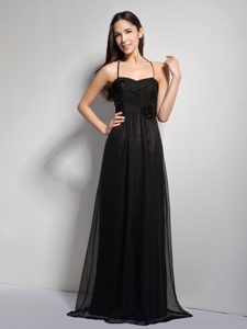 Black Empire and Chiffon Bridemaid Dress with Hand Made Flower