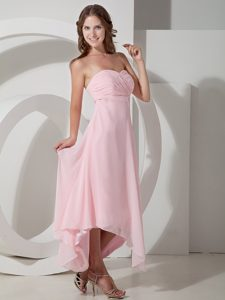 Baby Pink Empire Strapless Asymmetrical Chiffon Bridesmaid Dress