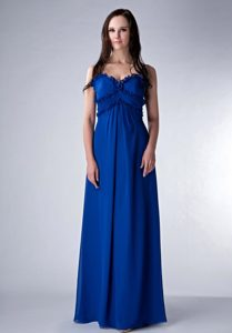 Popular Royal Blue Empire Straps Chiffon Bridesmaid Dress in Floor-length