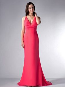 Exquisite Coral Red V-neck Bridesmaid Dress with Brush Train