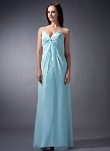 Custom Made Baby Blue Sweetheart Chiffon Bridemaid Dress