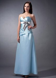 Baby Blue Sweetheart Satin Bridemaid Dress with Ruching and Bow
