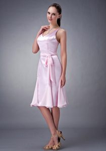 Baby Pink V-neck Knee-length Chiffon Bridesmaid Dress with Sash
