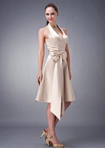 Champagne A-line Halter Tea-length Satin Bridesmaid Dress with Sash