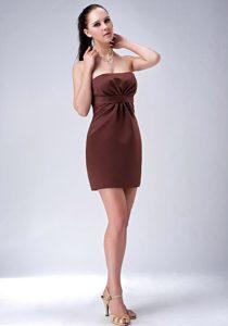 Elegant Strapless Mini-length Satin Bridesmaid Dress in Brown