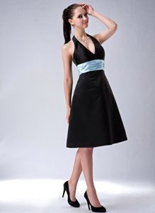 Custom Made Black A-line Knee-length Satin Bridesmaid Dress with Belt