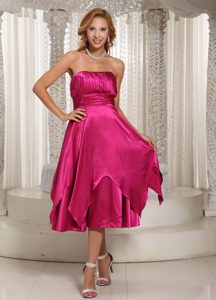 Custom Made Tea-length Bridemaid Dress For Wedding Party in Hot Pink