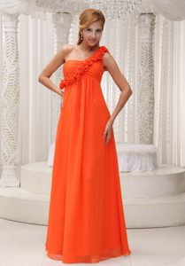 Orange One Shoulder Chiffon Bridemaid Dress with Hand Made Flower