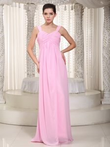 Baby Pink Empire Straps Chiffon Long Maid of Honor Dresses with Ruches