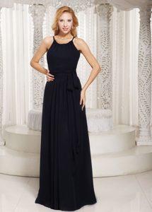 2013 Sheath Scoop Black Junior Bridesmaid Dress with Bow Sash