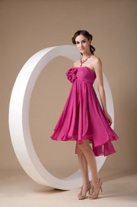 Exclusive Fuchsia Empire Strapless Chiffon Maid of Honor Dress with Flowers