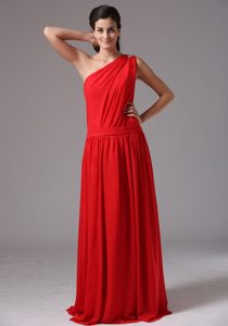 One Shoulder Long Red Junior Bridesmaid Dress with Pleats