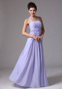 Graceful Lilac Halter Maternity Bridesmaid Dresses with Beading and Ruching