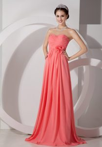 Brush Train Sweetheart Chiffon Maid of Honor Dress with Ruches and Flowers