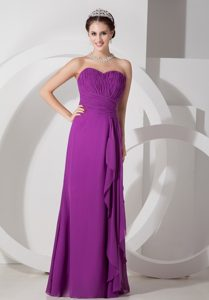 Long Chiffon Purple Empire Maternity Bridesmaid Dress with Sweetheart