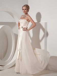 Empire Strapless Chiffon Long Maternity Bridesmaid Dress with Beads