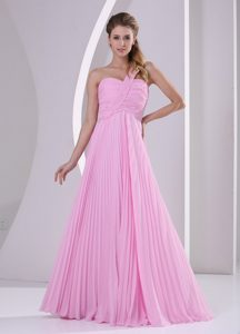 Pink One Shoulder Pleated Chiffon Maid of Honor Dresses with Brush Train
