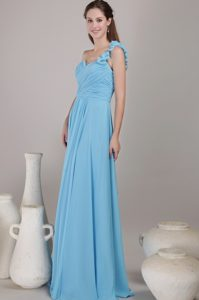 Empire One Shoulder Long Chiffon Bridesmaid Dress in Baby Blue