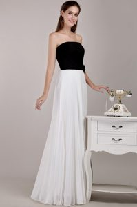 Black and White Empire Strapless Long Bridesmaid Dresses