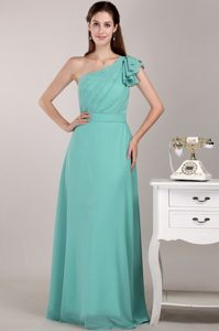 Turquoise Long Chiffon Dresses for Bridesmaid with One Shoulder