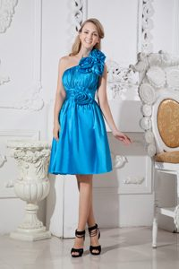 Ruched A-line One Shoulder Short Sky Blue Bridesmaid Dress with Flowers