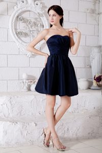 Navy Blue Ruched Princess Strapless Mini Dresses for Bridesmaid in Taffeta
