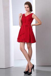 Wine Red Empire V-neck Mini Chiffon Junior Bridesmaid Dress with Ruches