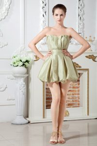 A-line Sweetheart Ruched Mini Maid of Honor Dress in Olive Green