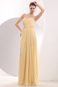 Light Yellow Empire Sweetheart Chiffon Bridesmaid Dress with Brush Train