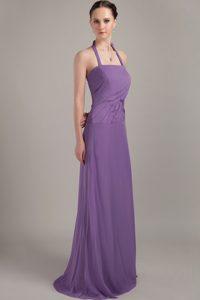 Purple Halter Brush Train Chiffon Junior Bridesmaid Dress with Ruche