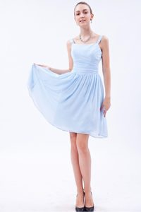 Cheap Baby Blue Straps Knee-length Junior Bridesmaid Dresses with Ruching