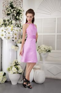 Romantic Lavender High-neck Empire Maid of Honor Dresses in Knee-length