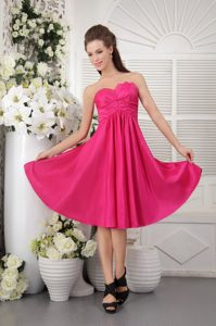 Hot Pink Strapless Knee-length Discount Dresses for Bridesmaid with Ruches