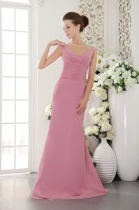 Modest V-neck Rose Pink Junior Bridesmaid Dress with Brush Train