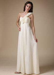 White Empire One Shoulder Long Maid of Honor Dress with Flowers
