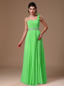 One Shoulder Long Spring Green Beaded Pageant Dress with Flowers