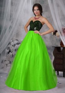 Sweetheart Long Black Sequin and Spring Green Tulle Pageant Dress