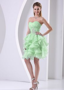 Sweetheart Mini-length Apple Green Pageant Dress with Ruffles and Appliques