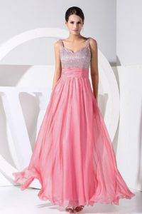 Cheap Straps Long Watermelon Chiffon Pageant Dress with Beading