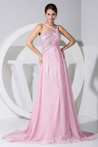 Asymmetrical Shoulder Brush Train Pink Ruched Beaded Prom Pageant Dress