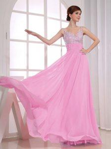 Chic Spaghetti Straps Long Baby Pink Beaded Chiffon Pageant Dress