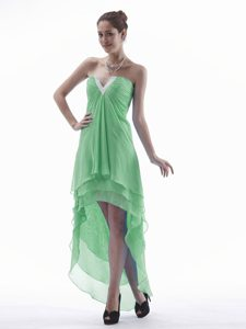 Slot Neckline High-low Layered Chiffon Spring Green Pageant Dress on Sale