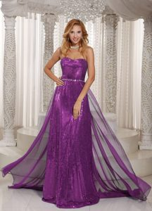Sweetheart Brush Train Purple Sequin and Chiffon Pageant Dress for Cheap