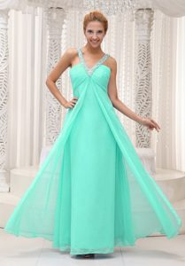 Brand New V-neck Long Apple Green Ruched Beaded Pageant Dress