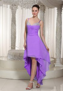 Spaghetti Straps High-low Lavender Chiffon Pageant Dresses with Beading