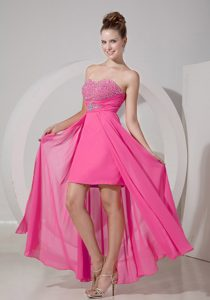 Sweetheart Long Pink Chiffon Pageant Dresses with Beading and Slit