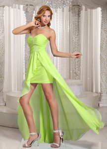 Sweetheart High-low Yellow Green Ruched Pageant Dresses with Appliques