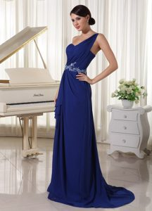 One Shoulder Brush Train Ruched Royal Blue Pageant Dress with Appliques