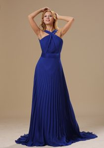 Royal Blue V-neck Brush Train Ruched Chiffon Pageant Dresses with Pleats